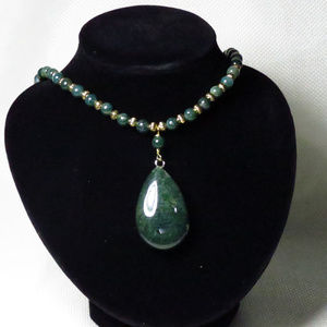 Jewelry - Moss Green Agate Gemstone Necklace